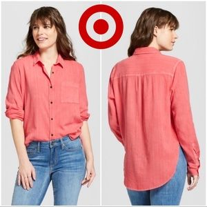 Universal Thread Coral Button Up Blouse